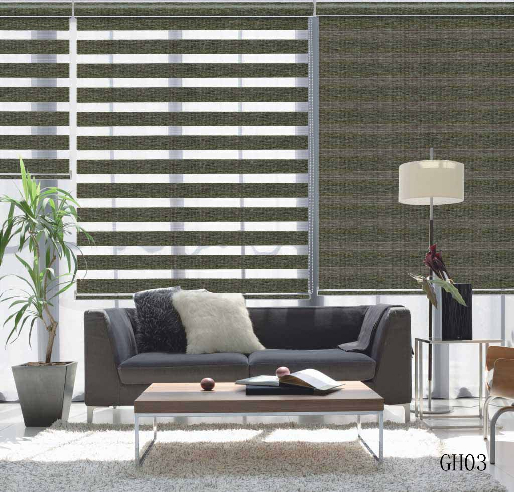 Blackout Zebra Blinds Gh03 Series Living Room Blinds Wooden