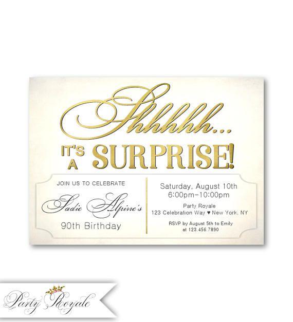 Surprise 90th Birthday Invitations Womens
