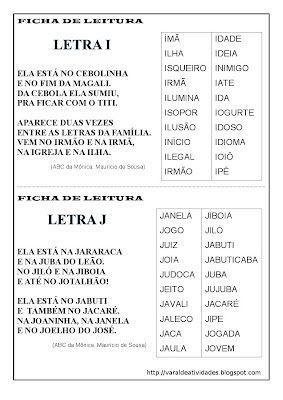 VARAL DE ATIVIDADES: Ficha de Leitura I e J