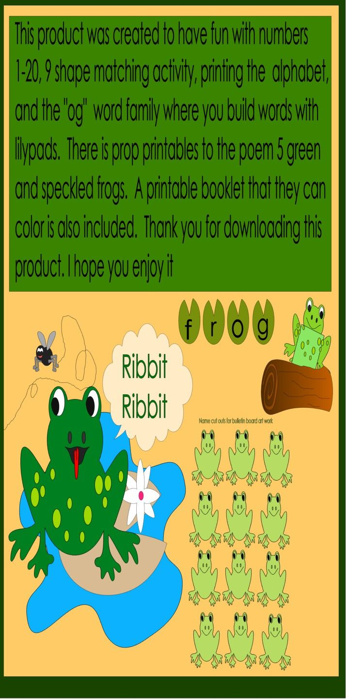 Kindergarten Spring theme-Frogs and lilypads | Color activities ...
