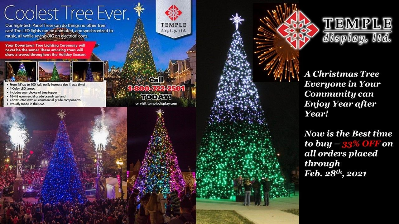 Commercial Christmas Trees Temple Display In 2021 Animated Christmas Tree Commercial Christmas Decorations Animated Christmas