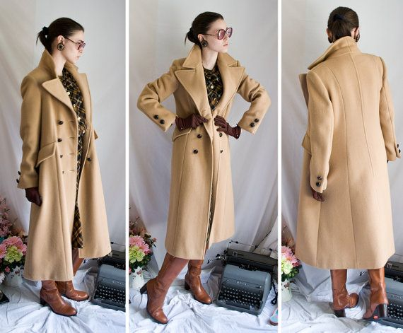 70s long Camel wool blend winter double breasted trench coat ...