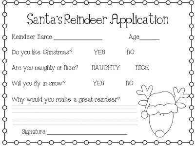 What The Teacher Wants Reindeer Job Application  December