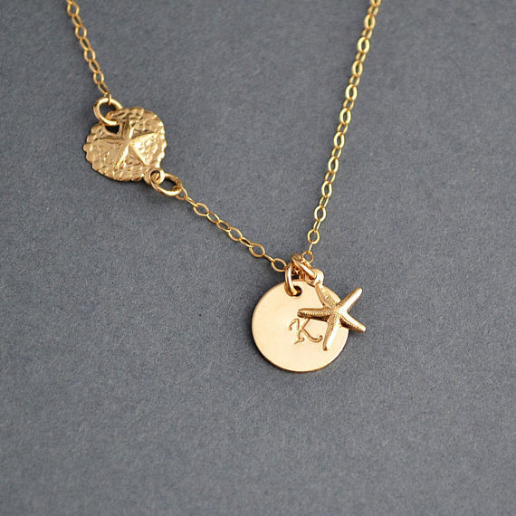 Sand dollar starfish necklace gold initial necklace beach necklace sand dollar starfish necklace gold initial necklace beach necklace personalized custom stamped initial disc necklace aloadofball Gallery