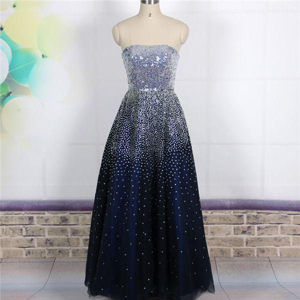 15fdb221cb8 Custom Cheap Ball Gown Strapless Bling Bling Long Navy Blue Prom Dresses  Gowns 2016