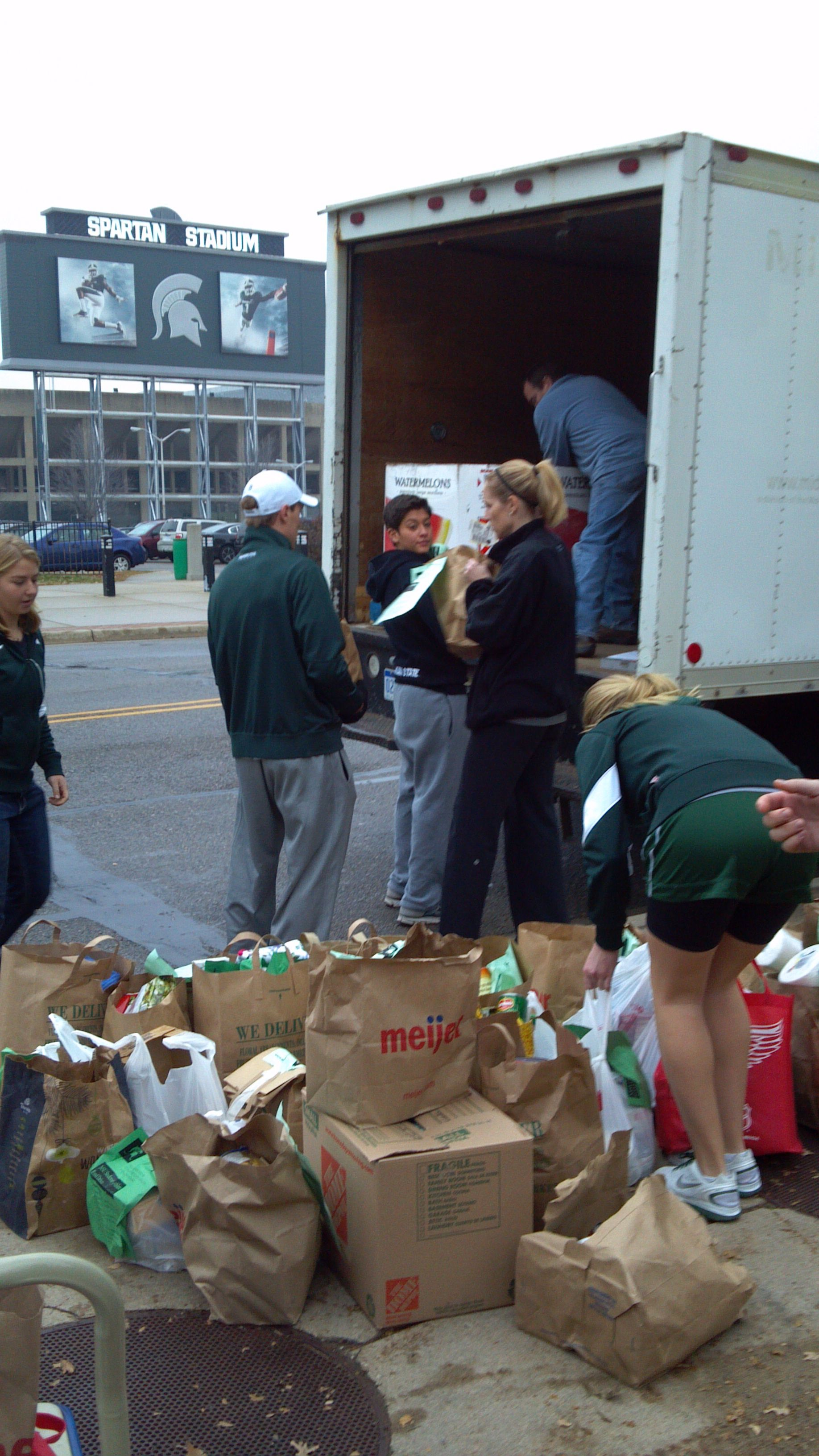 MSU #Spartans Student-Athlete Food Drive 2012! All donations were collected for the Greater Lansing Food Bank. #athletefood