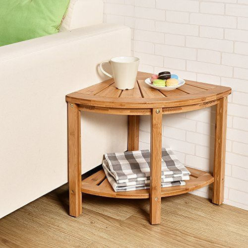 Bamboo Corner Shower Bench Seat Stool With Storage Shelf 15 75x 75 17 Inch