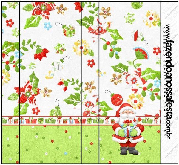 Santa en Fondo Verde: Etiquetas para Candy Buffet para Imprimir Gratis.