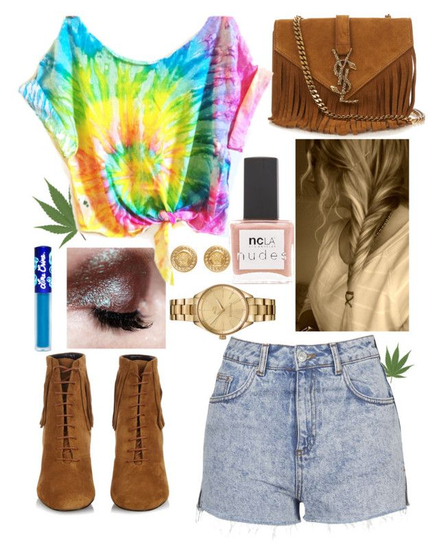 """Fringie Hippie"" by mary-elizabeth-1998 ❤ liked on Polyvore featuring Ellis Faas, Topshop, Yves Saint Laurent, ncLA, Lime Crime, Lacoste and Versace"