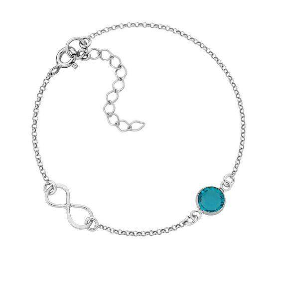 Infinity Bracelet Birthstone Friendship Sterling Silver Brace