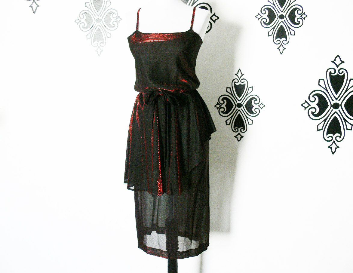 Vintage 70s Copper Shimmer Sheer Black Peplum Disco Dress S M Italian Designer Belted Side Slit by PopFizzVintage on Etsy