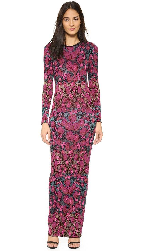 Ronny Kobo Diamond Floral Stripe Maxi Dress - Black Multi ...