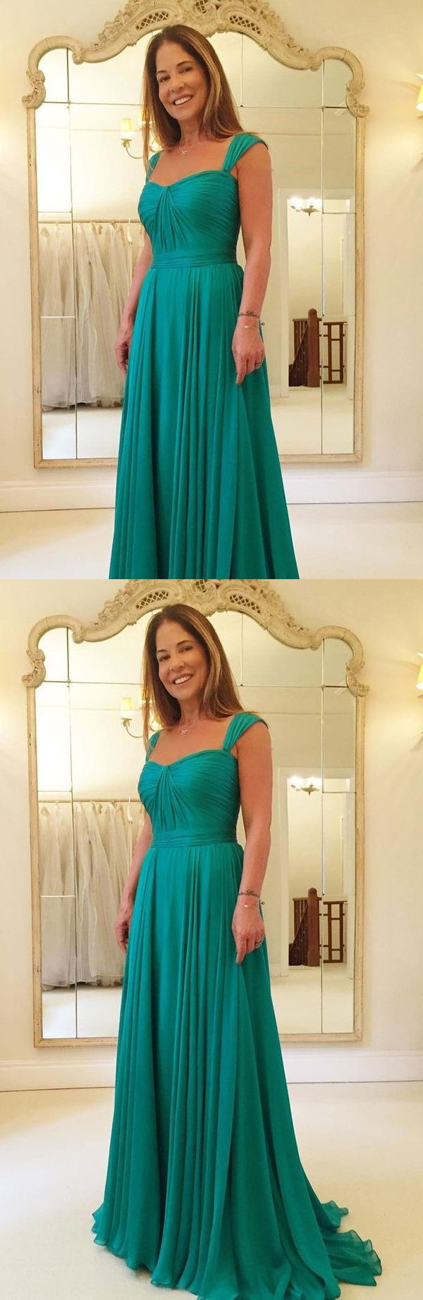 A line emerald green chiffon long cheap prom dresses formal dress