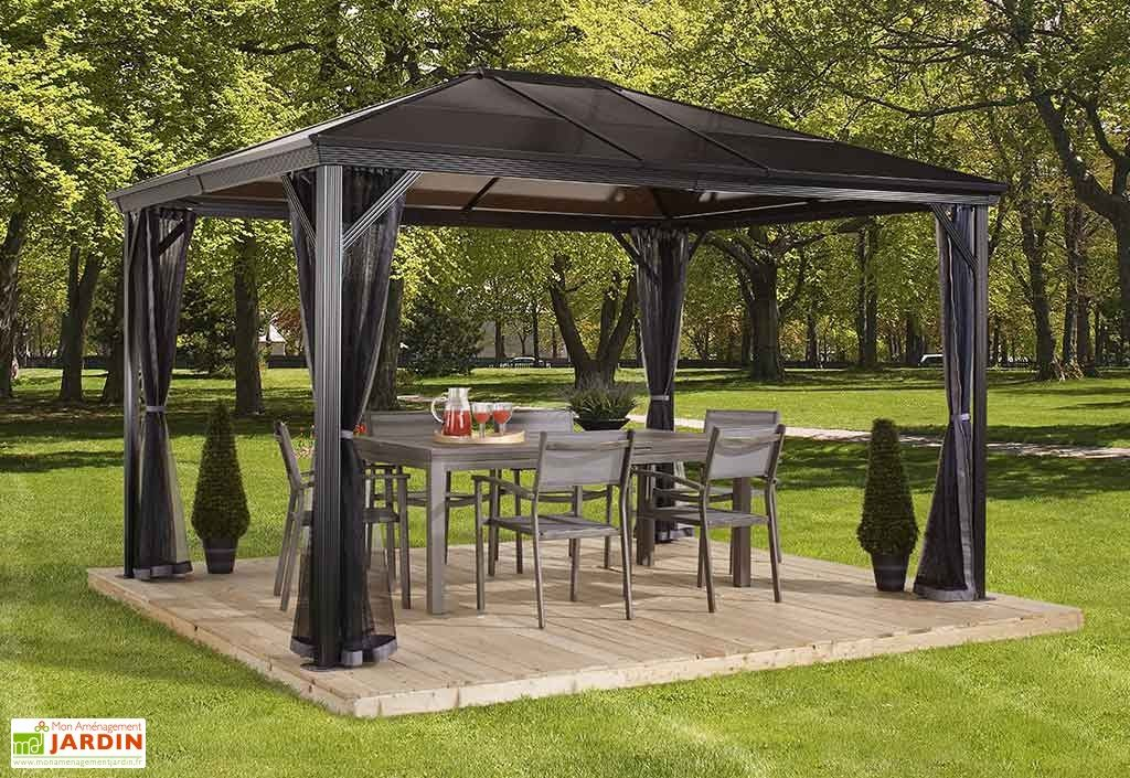 tonnelle en aluminium anthracite et polycarbonate bronze 4 22x2 98x2 60m pergolas et tonnelles. Black Bedroom Furniture Sets. Home Design Ideas