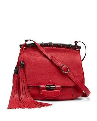 Nouveau Leather Shoulder Bag, Red by Gucci at Bergdorf Goodman.