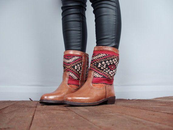 Tarchia leather Kiboots - brown leather Navajo ethnic tribal aztec carpet kilim boots size UK 5 US 7 / 7.5 EU 38