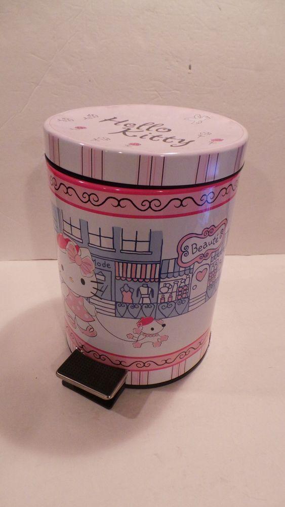 Hello Kitty Paris Metal Trash Garbage Can removable liner Flip Lid Sanrio 2008