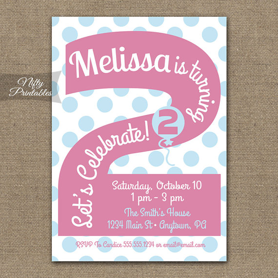 2nd Birthday Invitations Printable Second Invitation Girls Party Pink Two Year Old Invites 2 Years PGBD