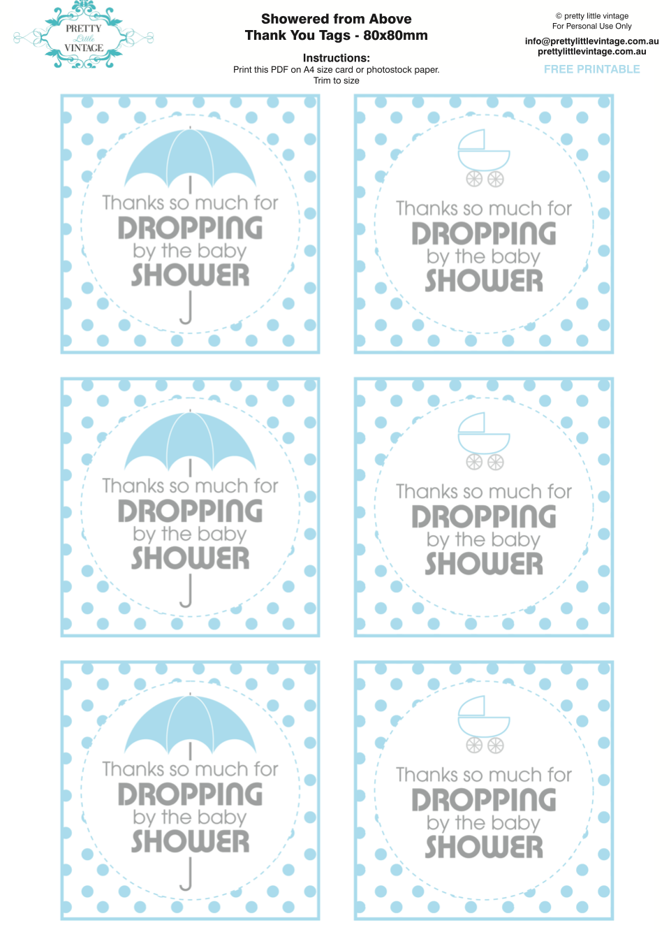 picture regarding Free Printable Baby Shower Thank You Tags identified as Showered Against In excess of Rain Boy Kid Shower Printables Creating