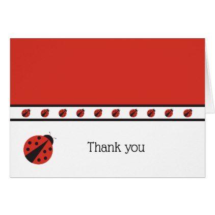 Ladybug Thank You Note Card  Birthday Gifts Party Celebration