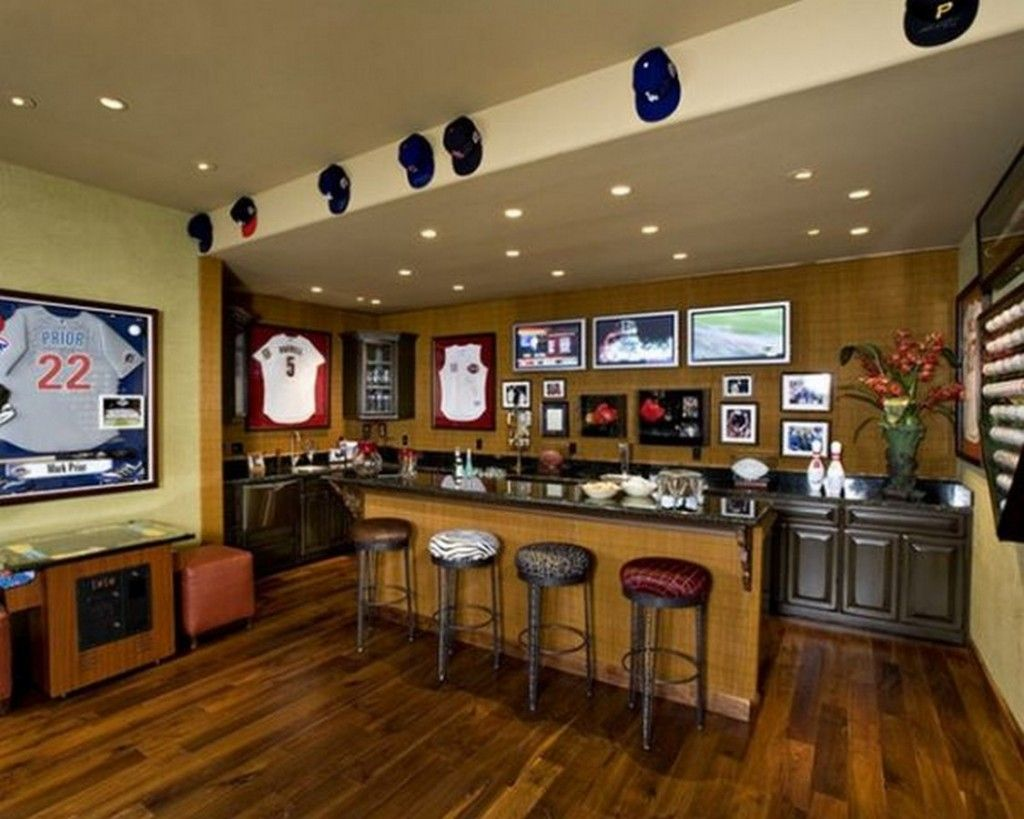 Sport Themed Home Bar In Vintage Style Design Ideas: Inspirational ...