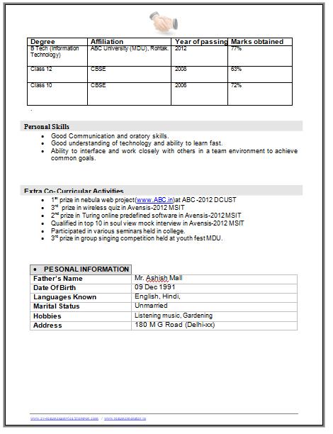 B Tech It Student Resume Page 3 Career Pinterest Student Resume