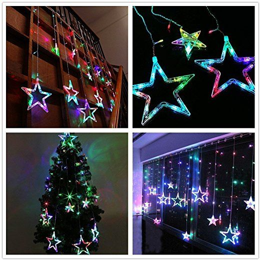 coosa stern led vorhang lichterkette fenster licht f r weihnachten partei festival au en. Black Bedroom Furniture Sets. Home Design Ideas