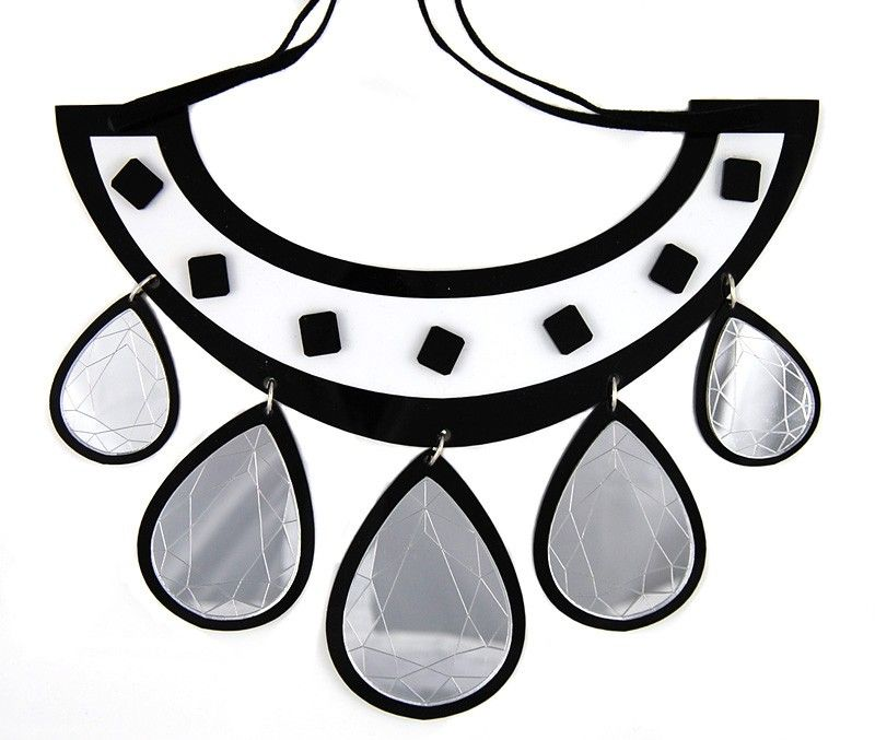 The Hearst silver mirror drop necklace