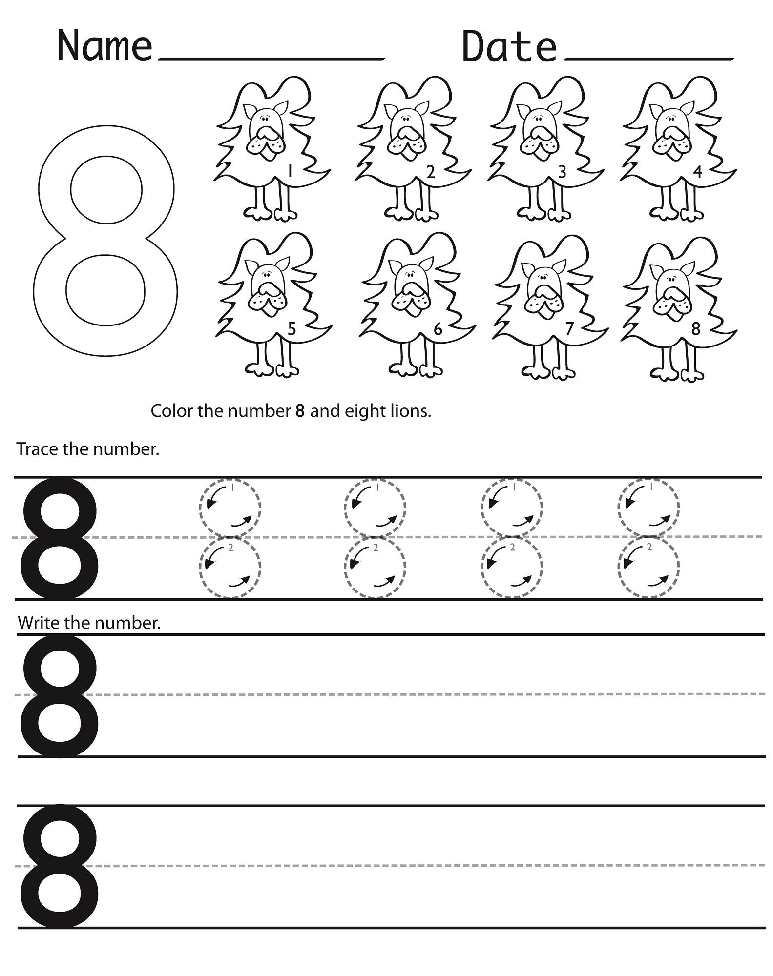 Free Number 8 Worksheet To Print In 2020 Number Worksheets Writing Numbers Math Coloring
