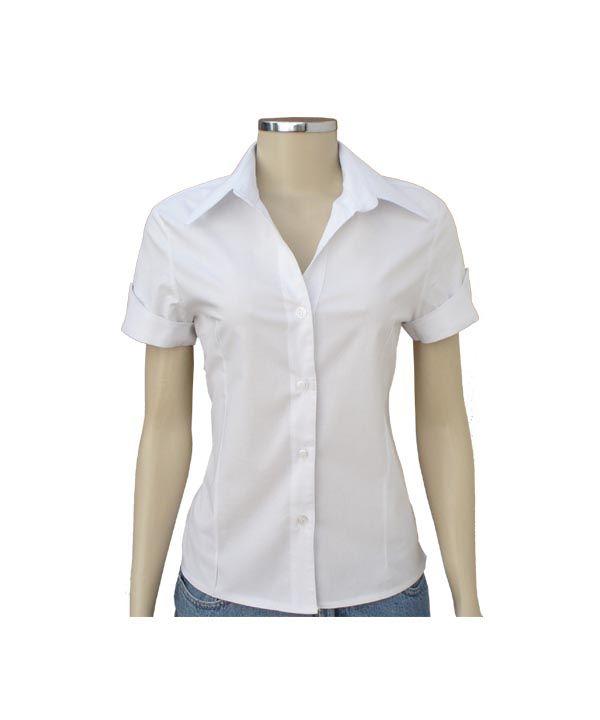 809ce9c6a8 Camisa Social Feminina Lisa Manga Curta :: Netroupas Moda Executiva ...