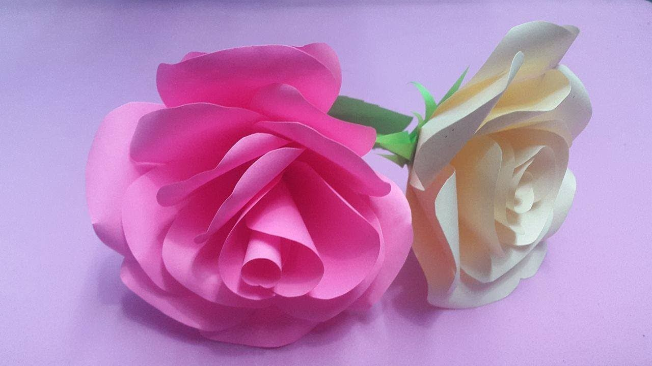 How To Make Rose Flower With Color Paper Diy Paper Flowers Making