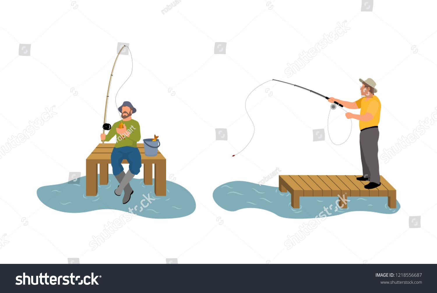 Fishing Men On Wooden Pier Dock Man With Rod Spinning Catching