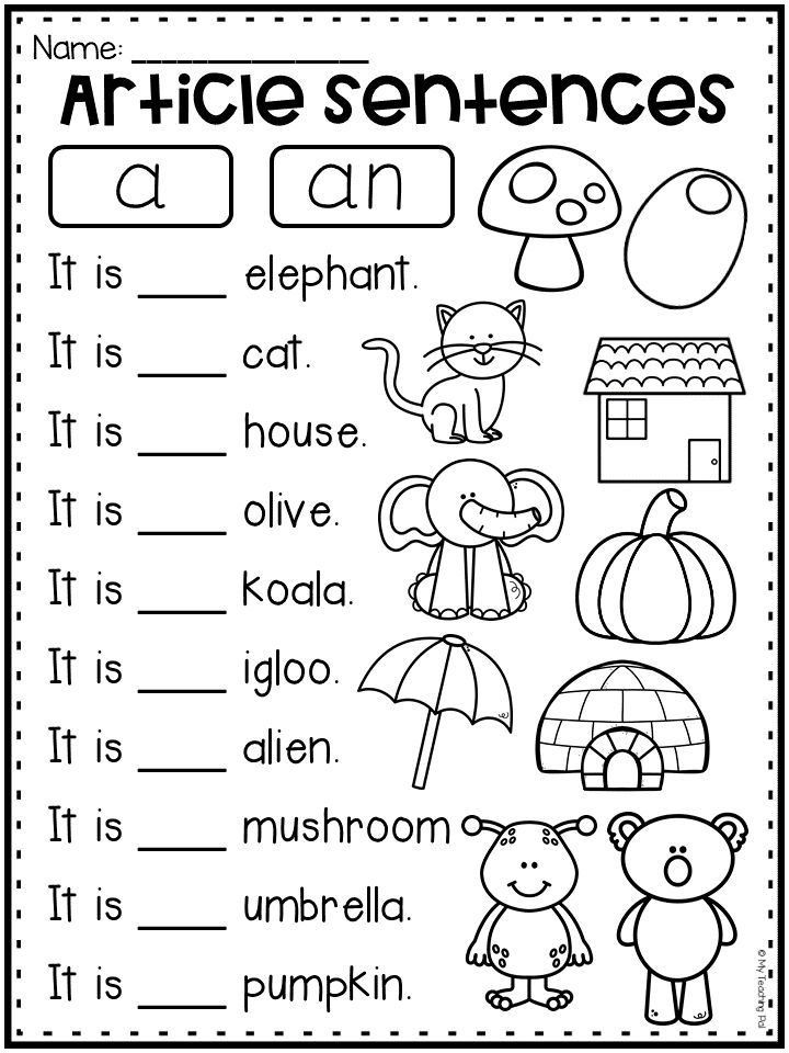 Articles worksheet for kindergarten, first grade and
