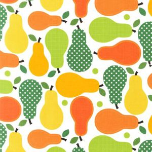 An older Fabric Rehab pattern: orange and green pears.