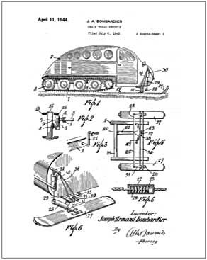 Bombardier snowmobile 10 X 13 patent drawing print