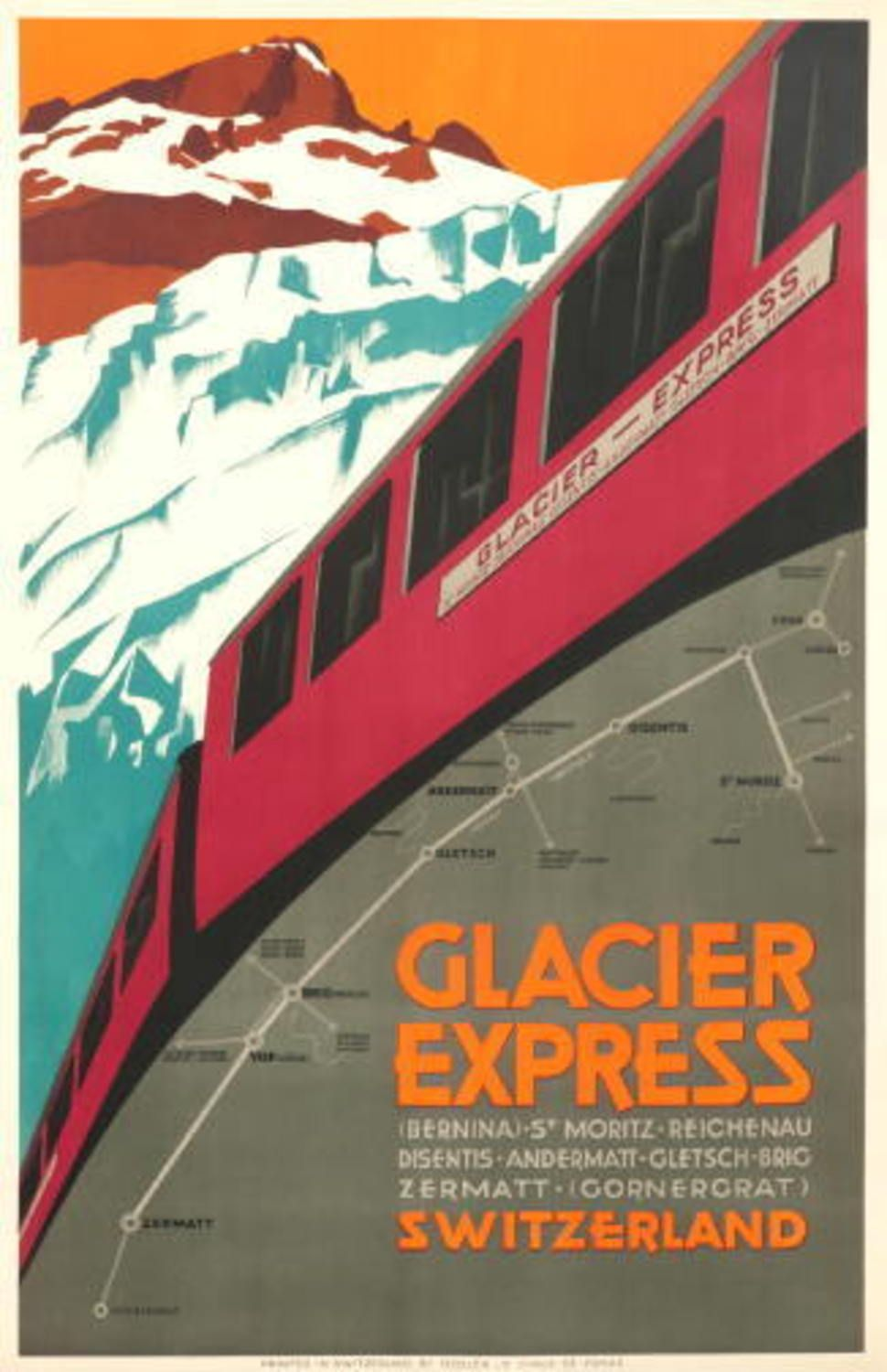 Glacier Express vintage swiss witer train travel poster repro 12x18