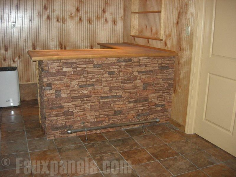 Kitchen Island Stone Front Interior Faux Rock Wall Panels Around This Bar Blend Nicely With