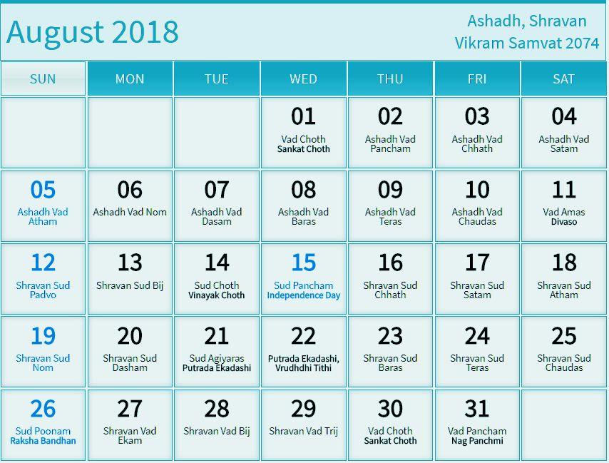August 2018 Calendar Hindu Panchang Tamil Telugu Marathi Malayalam