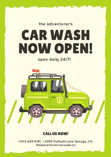 Yellow green border carwash business advertisement flyer poster yellow green border carwash business advertisement solutioingenieria Gallery