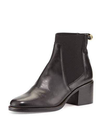 Delman Corie Leather Chelsea Boot, Black