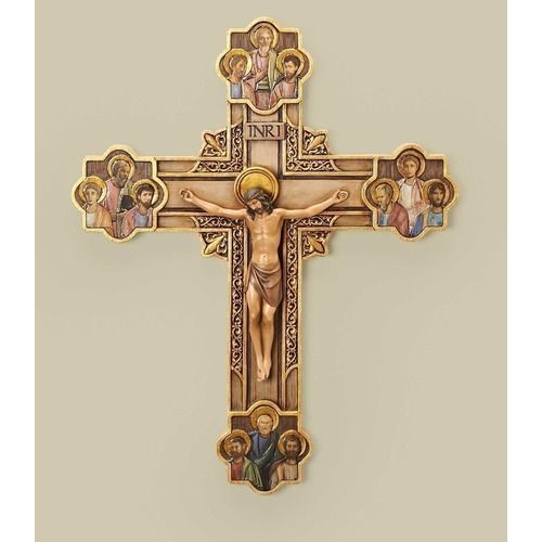 A Crucifix ready to bring home. The Corpus Christi is surrounded by the 12 apostles.