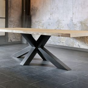 Table Salle A Manger Pied Metal Plateau Bois Chene Massif