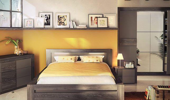 chambre adulte complète lodge coloris chêne anthracite et gris mat