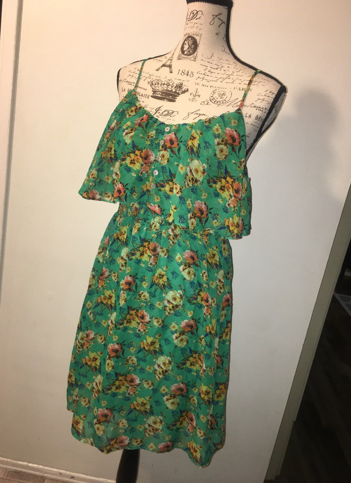 cce940866f8 xhilaration Green Floral Spring Dress - Mercari  The Selling App ...