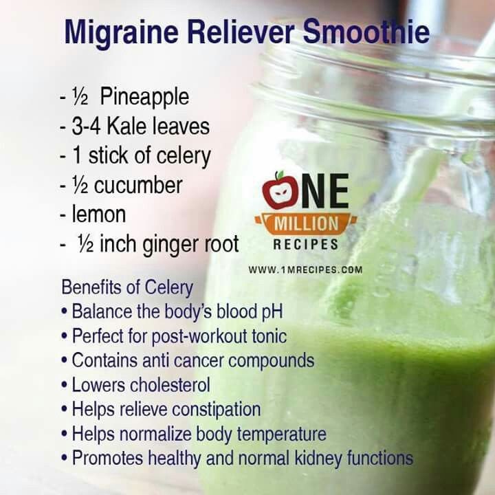 Migraine smoothie natural remedy headache pineapple kale celery