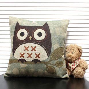 拼布田园风创意猫头鹰卡通抱枕办公室靠垫腰靠靠枕棉麻文艺