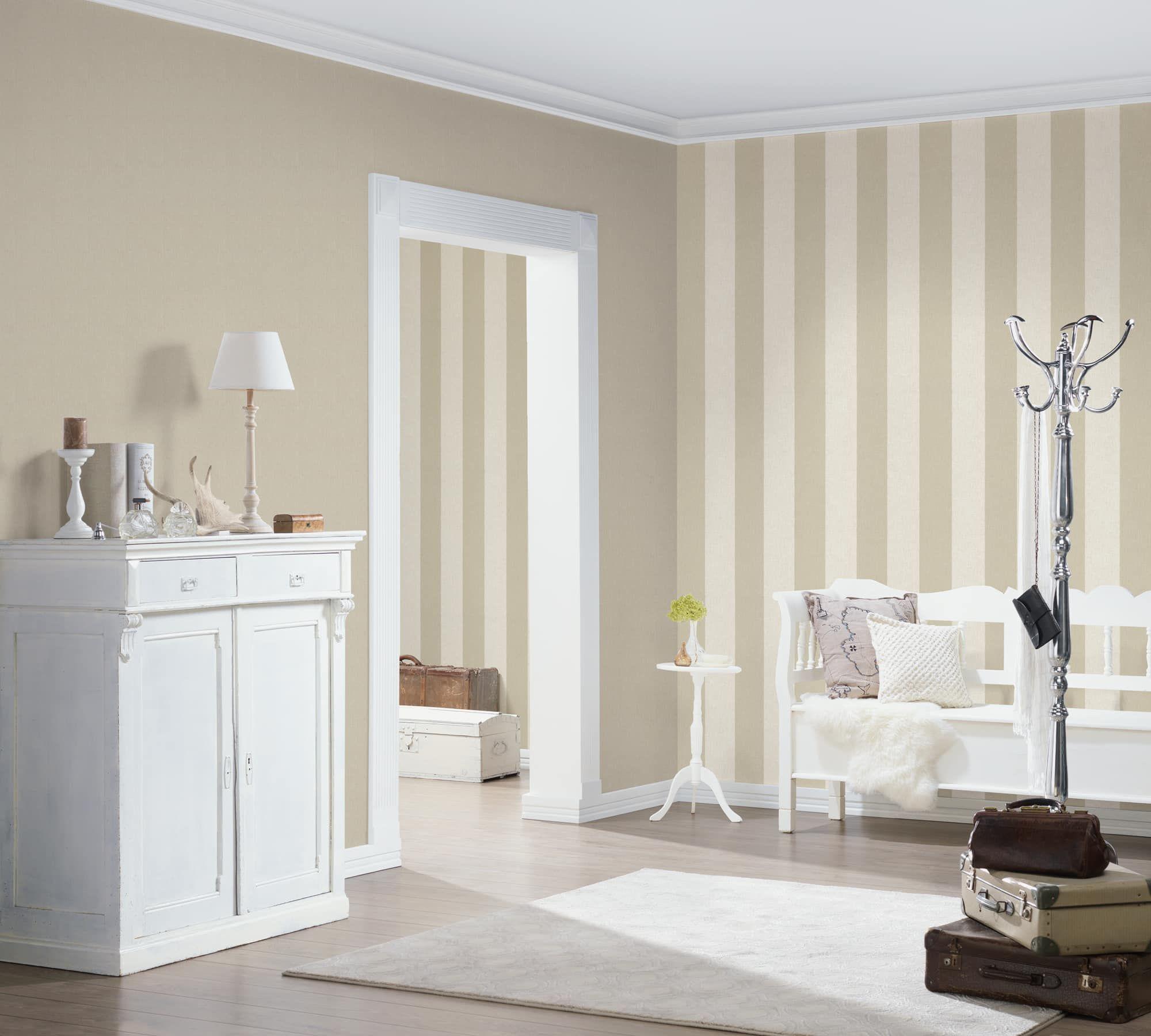 A.S. Création stripe wallpaper Borneo nonwoven cream