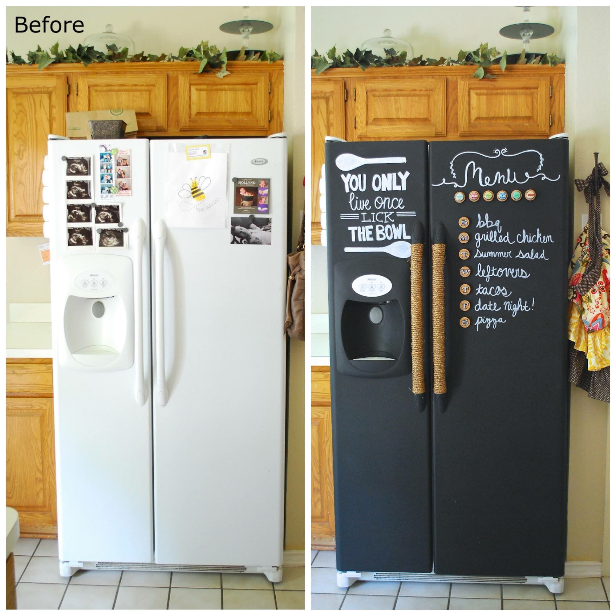 Chalkboard Fridge Diy Home Organization Hacks Fridge Makeover Painted Fridge