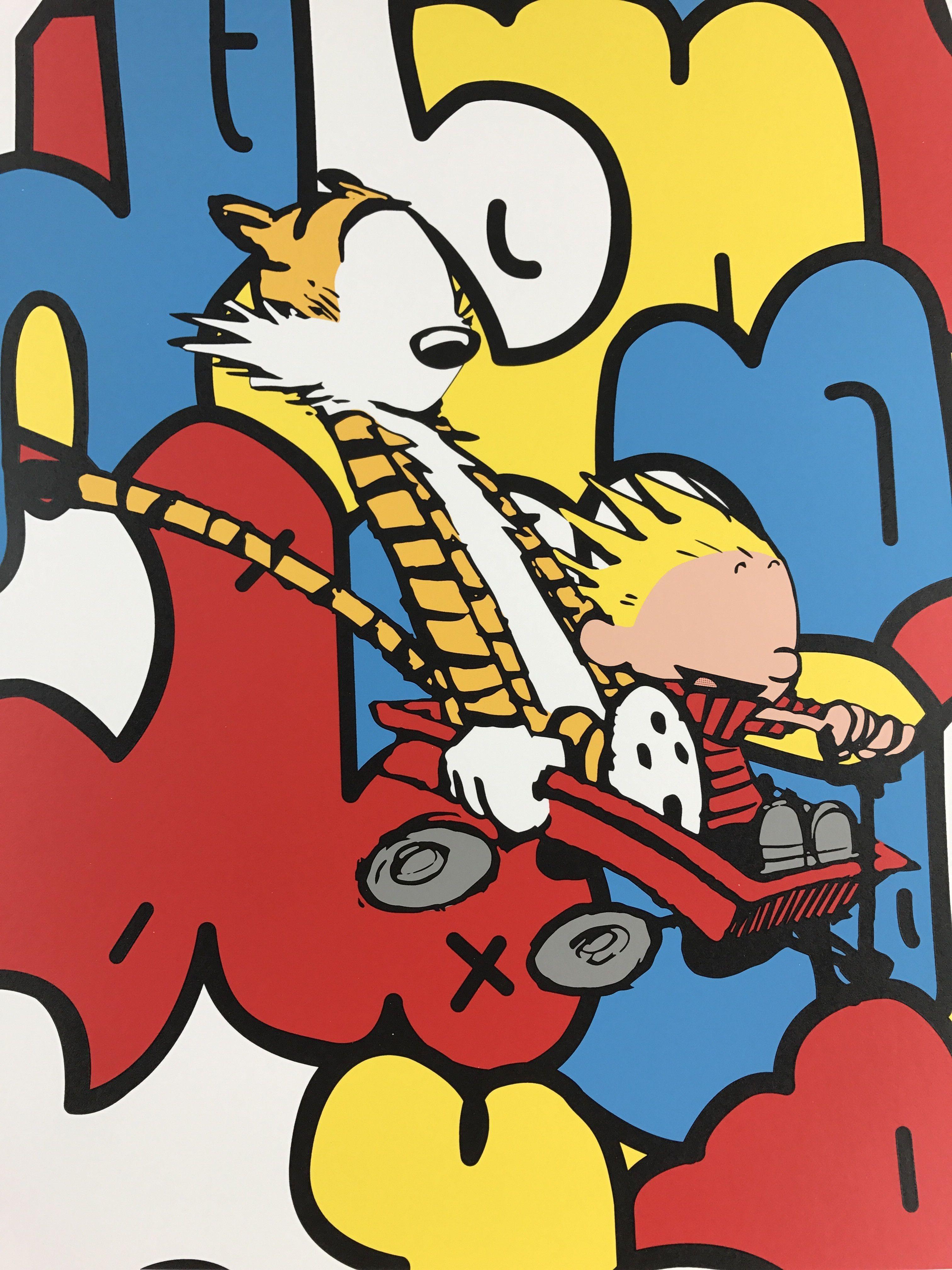 Old Friends - 2015 Jerkface poster street art Calvin and Hobbes AP ...