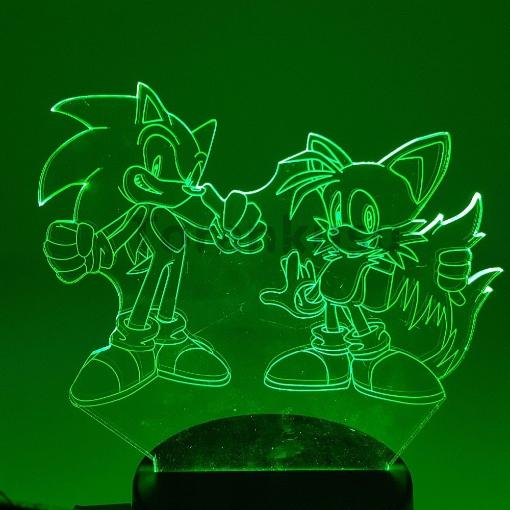 Sonic The Hedgehog 3D Led Night Light Visual Illusion Led RGB Changing Nightlight Sonic Action Figure 3D Novelty Light for Kids